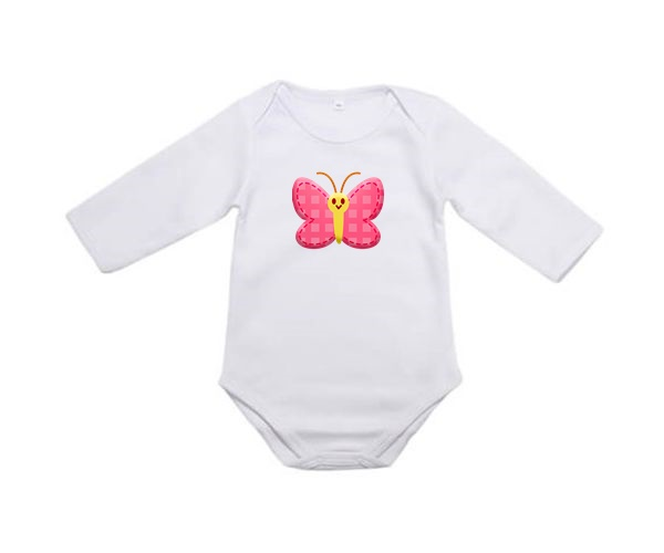 Kojenecké body s potiskem, bílé, Motýl růžový