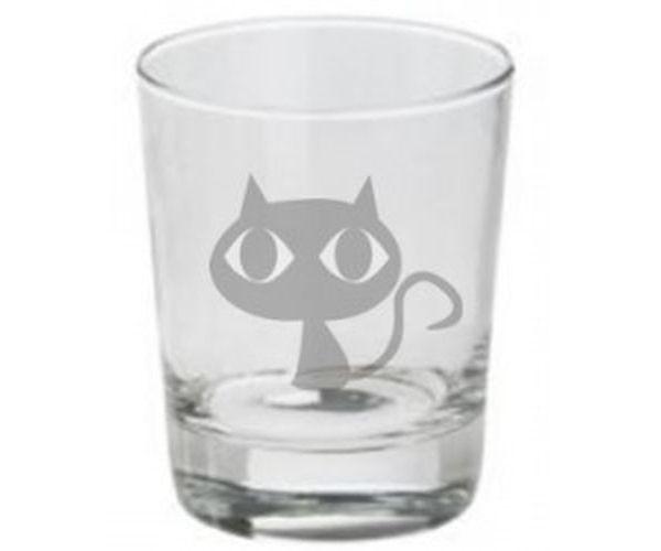 Pískovaná sklenička Kočka