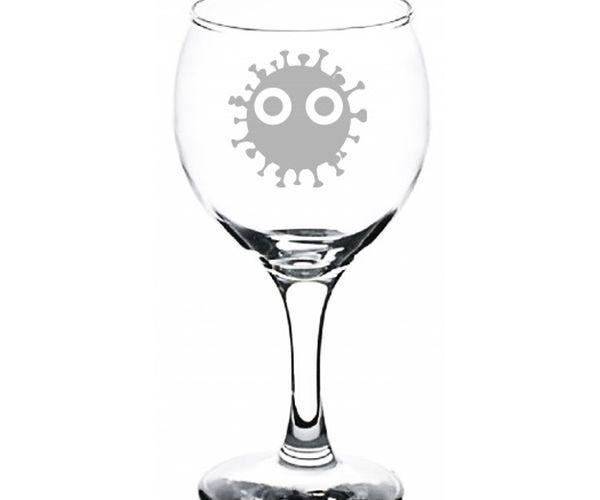 Pískovaná sklenka na likér s motivem viru
