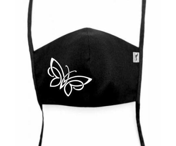 Bavlněná rouška s potiskem Motýl, černá