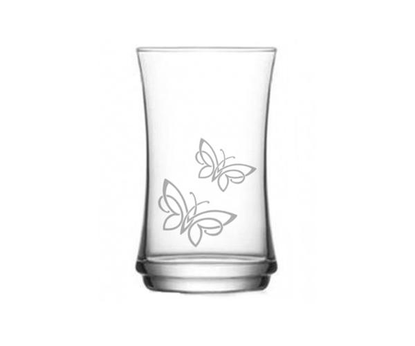 Pískovaná sklenička Motýlci