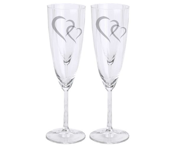 Pískované svatební sklenky na sekt, sada 2ks - Dvě srdce