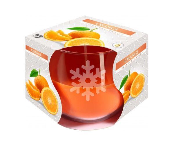 Pískovaná svíčka s vůní pomeranč, Vločka