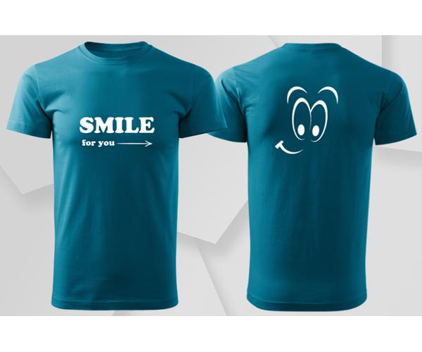 Pánské tričko Smile, tmavý tyrkys