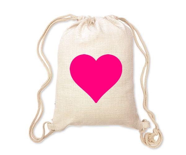 Lněný batoh/vak s potiskem - Srdce