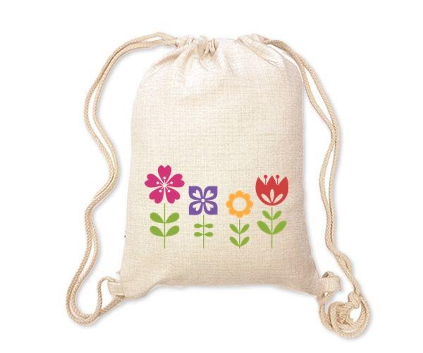 Lněný batoh/vak s potiskem - Kytky