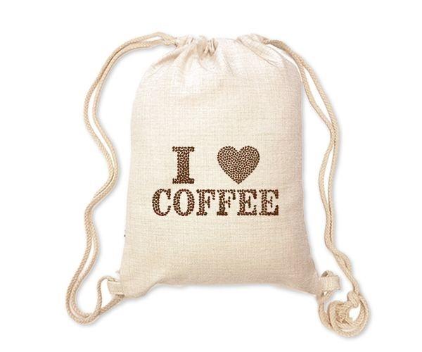 Lněný batoh/vak s potiskem - Coffee