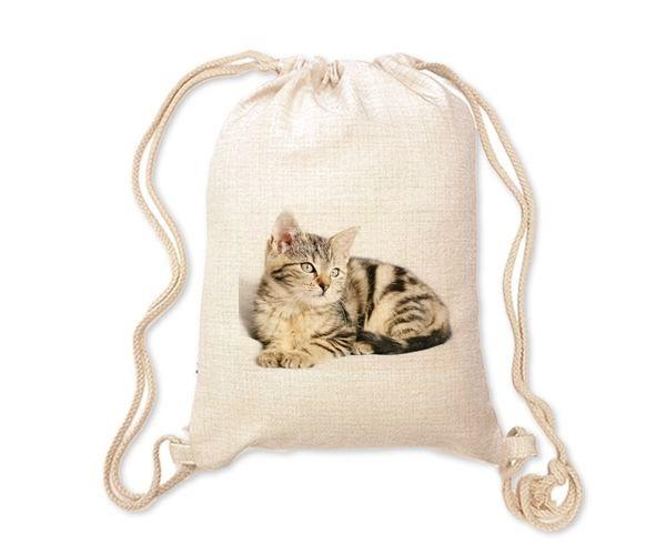 Lněný batoh/vak s potiskem - Kočička
