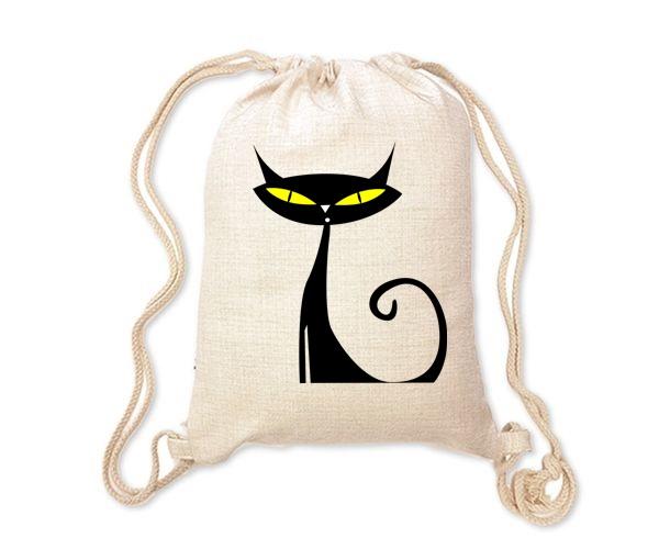 Lněný batoh/vak s potiskem - Kočka
