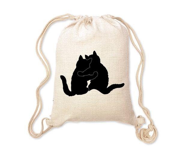 Lněný batoh/vak s potiskem - Kočky