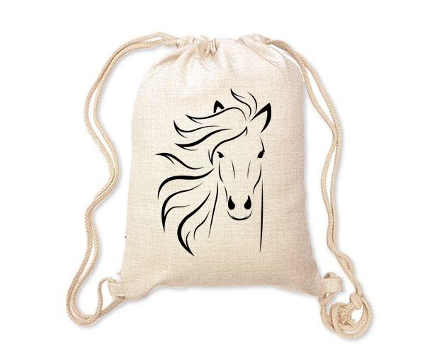 Lněný batoh/vak s potiskem - Kůň