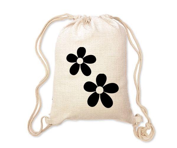 Lněný batoh/vak s potiskem - Kytičky