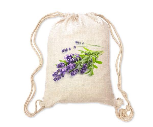 Lněný batoh/vak s potiskem - Levandule