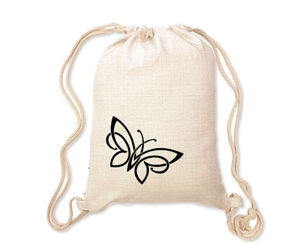 Lněný batoh/vak s potiskem - Motýl