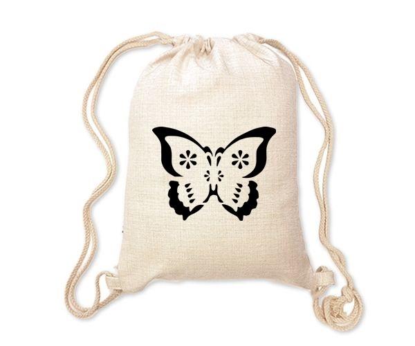 Lněný batoh/vak s potiskem - Motýlek
